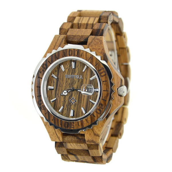 Men's luxury Waterproof Quartz Analog Display Wood Watch