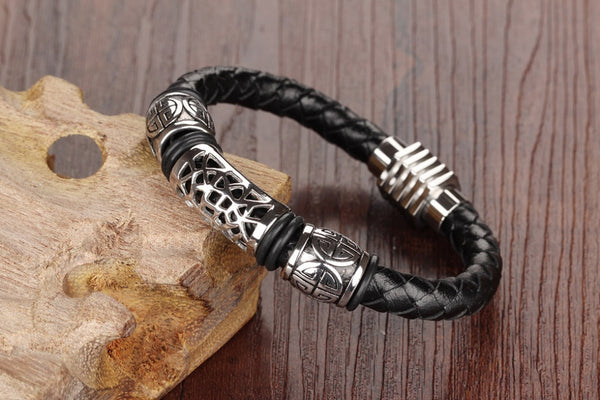 Casual Men's Black Braided Leather Bracelet (Fit 205mm or 8.07inch wrist)