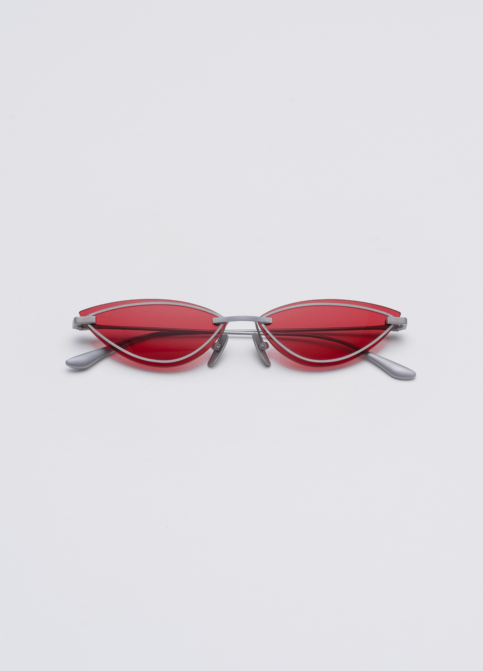 A SOCIETY LOLA - Red Titanium Cat-Eye Sunglasses Front