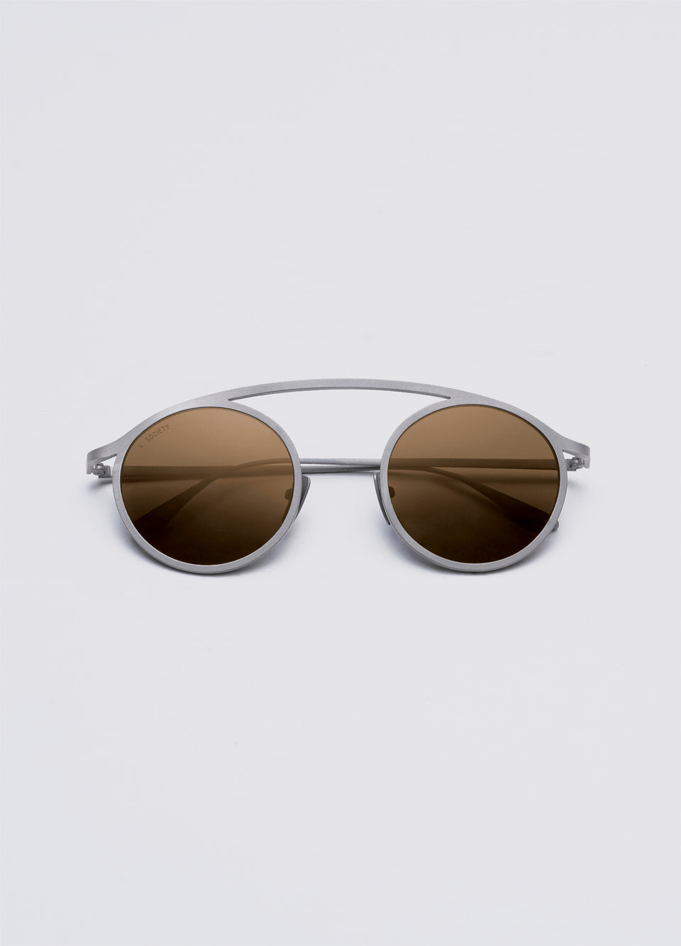A SOCIETY NEO - Brown Titanium Round Sunglasses Front