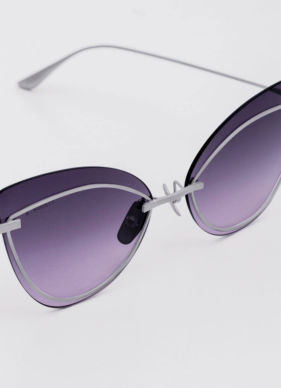 A SOCIETY LINDA - Purple Titanium Cat-Eye Sunglasses Detail