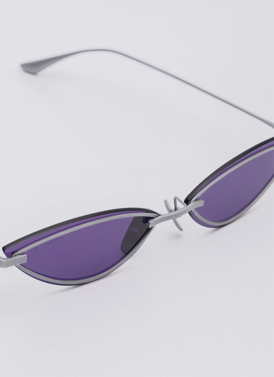 A SOCIETY LOLA - Purple Titanium Cat-Eye Sunglasses Detail