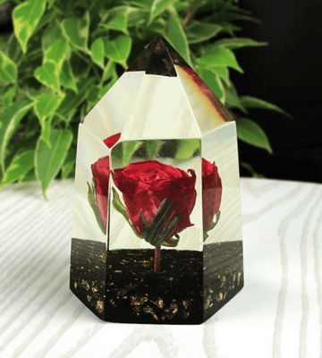 Handmade Preserved Crystal Rose Paperweight - Heartsi Co