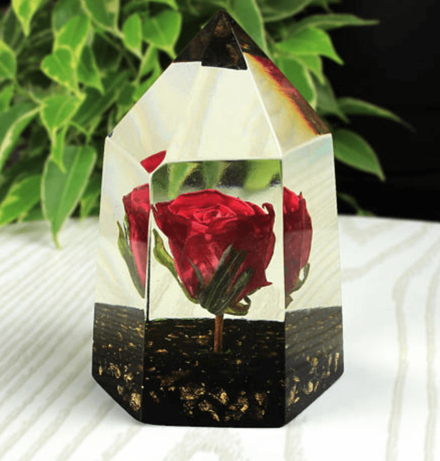Handmade Preserved Crystal Rose Paperweight