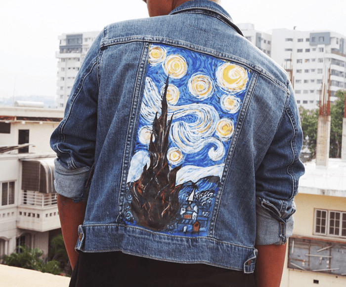 Customised Handmade Denim Jacket [Starry Night default] - Heartsi Co
