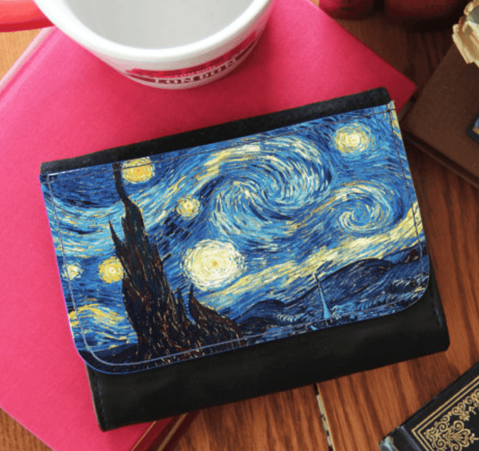 Starry Night Vincent van Gogh Artwork Faux Leather Wallet 3 Sizes