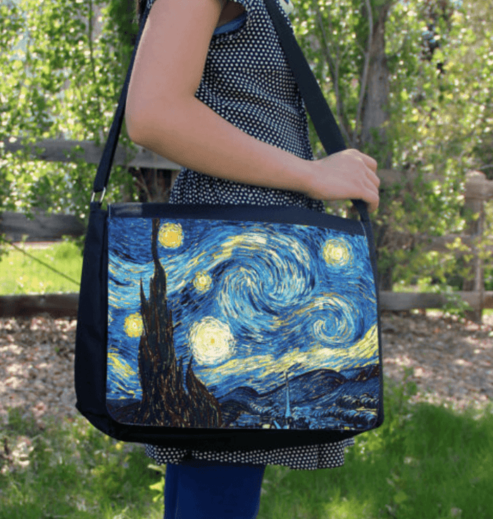 "Starry Night Vincent Van Gogh 15"" Laptop Messenger / Shoulder Bag"