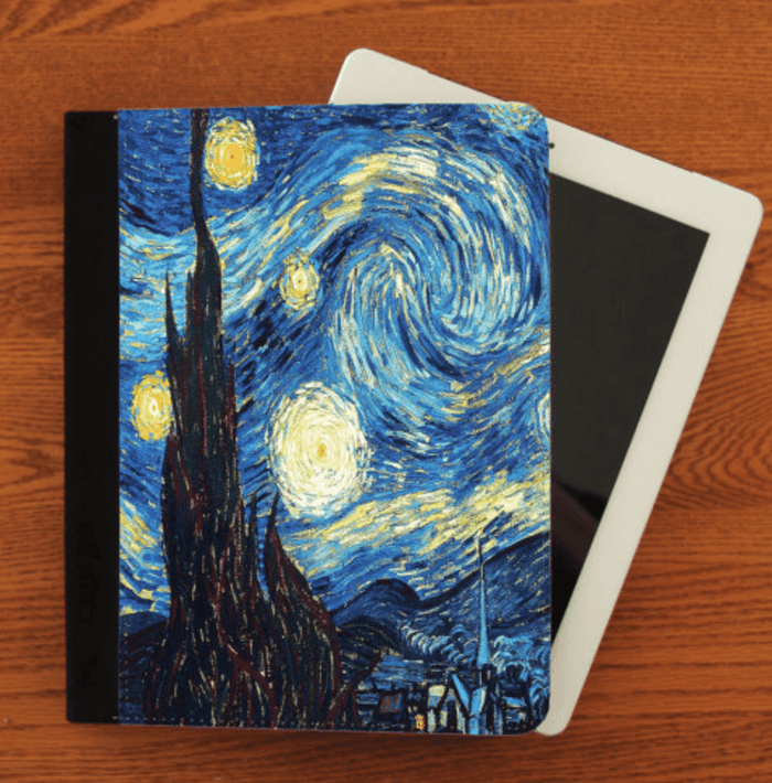 Vincent Van Gogh Starry Night iPad 2,3,4, iPad Mini, Leather Canvas and Suede Protection Case - Heartsi Co