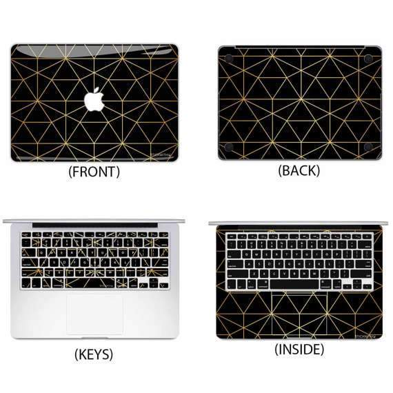 Black Gold Triangle Macbook Skin