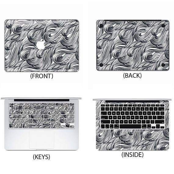 Black and White Waves Macbook Skin