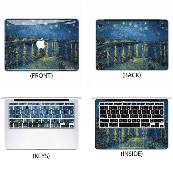 Starry Night Over the Rhine Macbook Skin