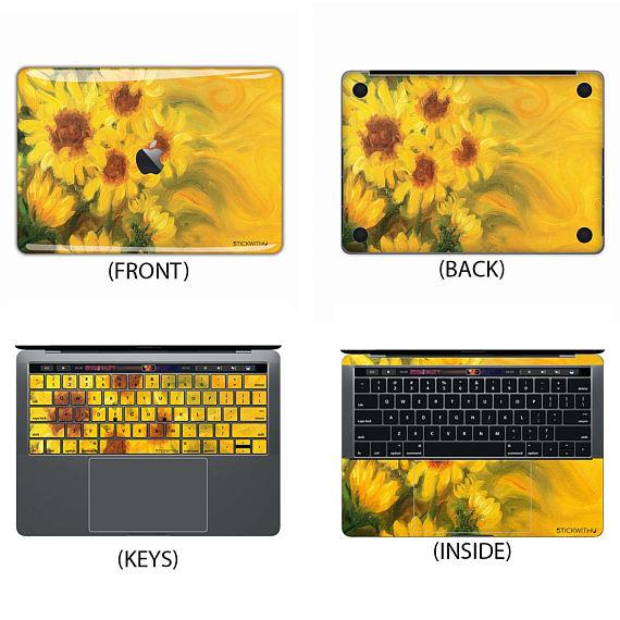 Sunflower Painting Macbook Skin