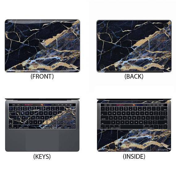 Black with Gold Flecks Marble Macbook Skin