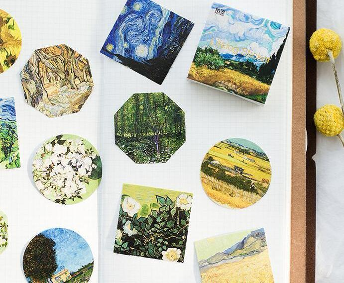 New 45pc Van Gogh Collection Sticker Pack