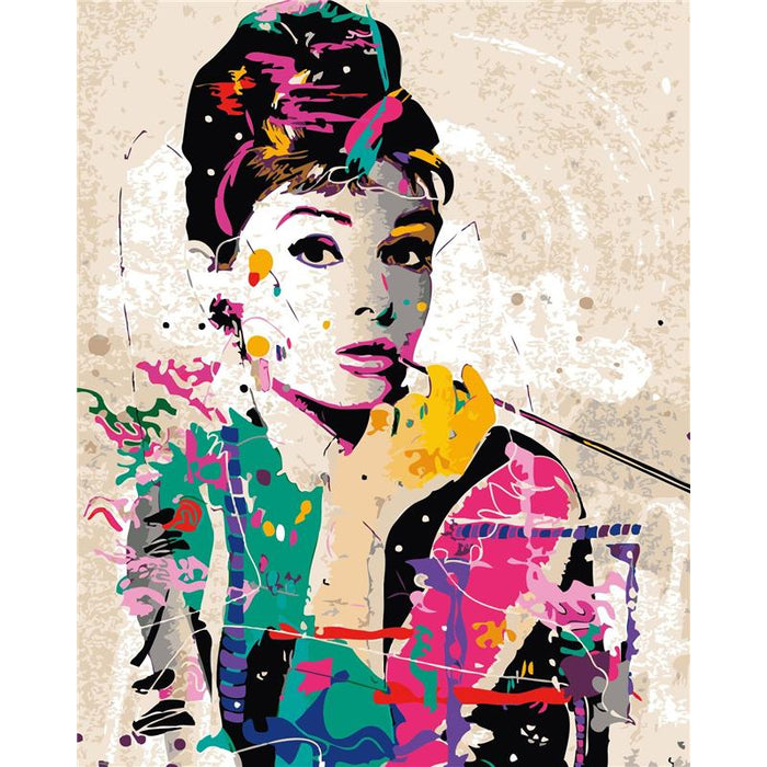DIY Abstract Audrey Hepburn Paint By Number Set - Heartsi Co