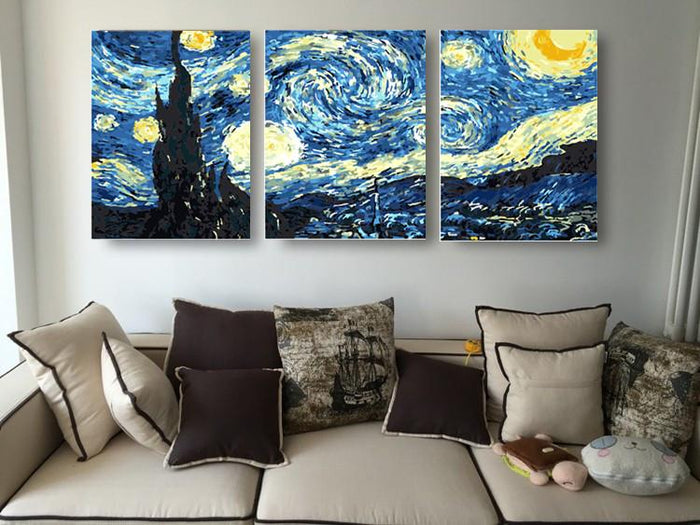 DIY 3pc Starry Night Paint By Number Set - Heartsi Co