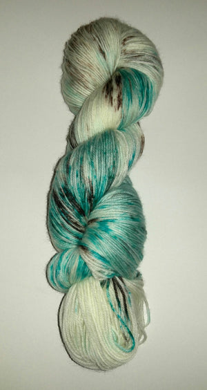 Brown and Aqua Specks Yarn