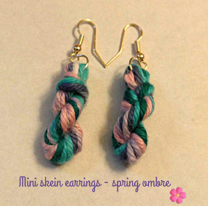 Mini Skein Yarn Earrings, Crochet Earrings, Knit Earrings, Dangling Earrings