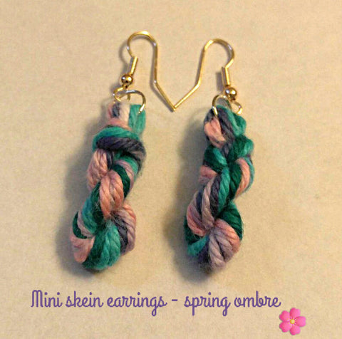 Mini Skein Yarn Earrings, Crochet Earrings, Knit Earrings, Dangling Earrings - Heathers Yarn Barn