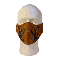Designer Inspired Face Mask - LV Brown / Blue