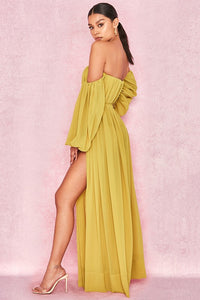 Cosima Chiffon Off The Shoulder Dress - Yellow