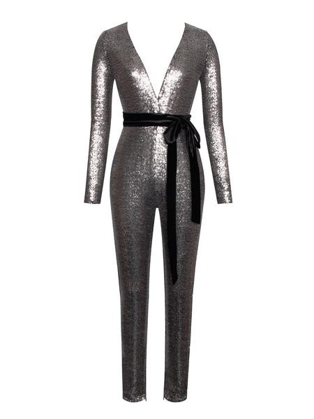 Wynn Stretch Mesh and Sequin Deep V Long Sleeve Jumpsuit - Silver