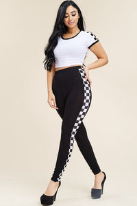 Checker Out High Waisted Leggings Crop Top Two Piece Set