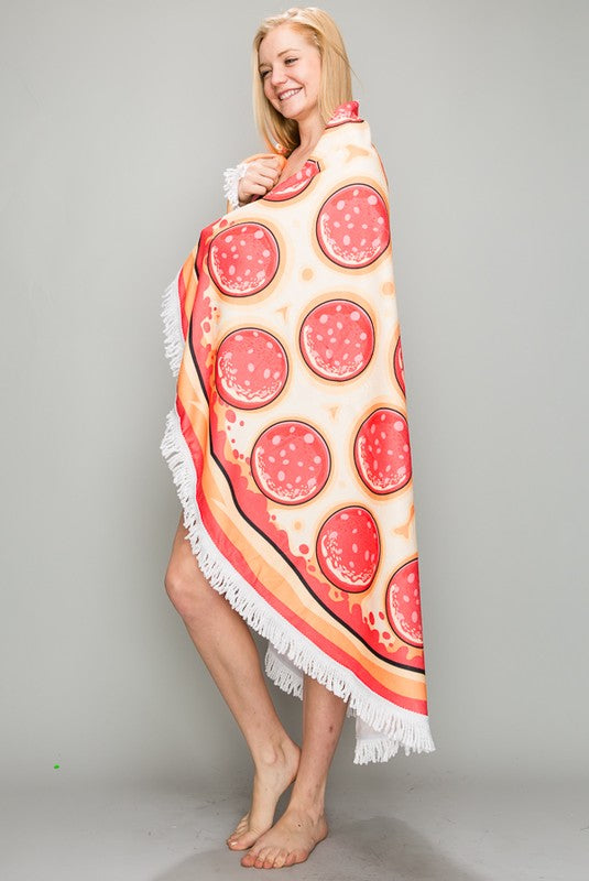 Pepperoni Pizza Tassel Trim Terry Cloth Round Beach Towel