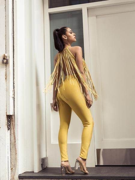 Katt Golden Embellished Stud Fringe Detail Bandage Jumpsuit - Yellow