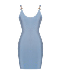 Ryder Powder Blue Bodycon Bandage Dress - Blue