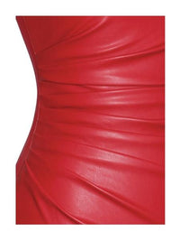 Yashira Red Leather Strapless Ruched Side Detail Dress - Red