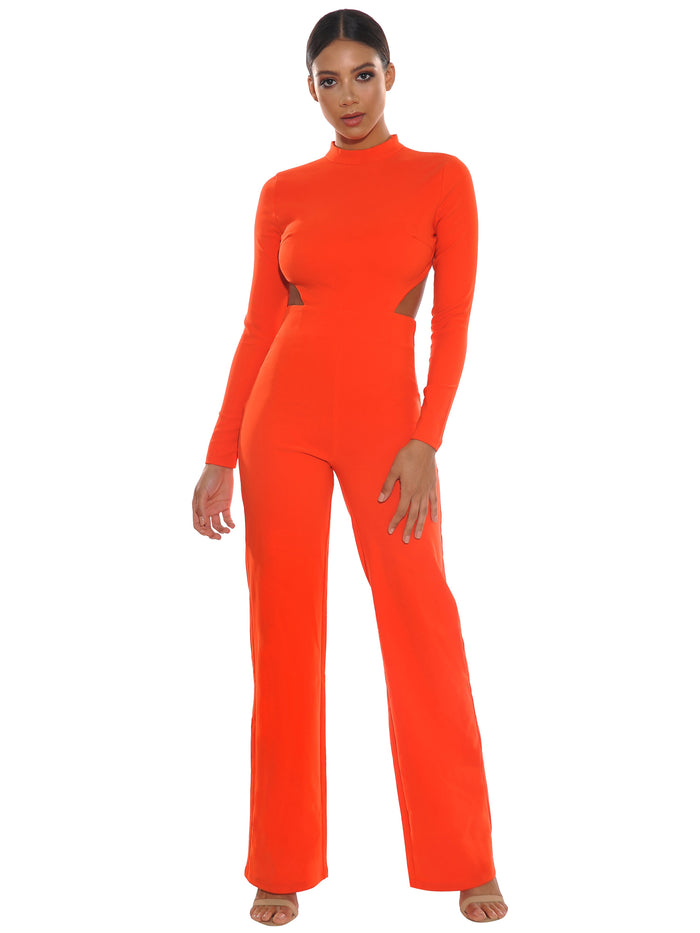 Quinlee Blackless Stretch Crepe Jumpsuit - Orange