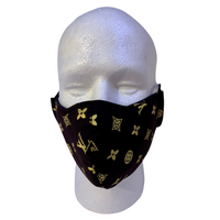 Designer Inspired Face Mask - LV Black / Gold