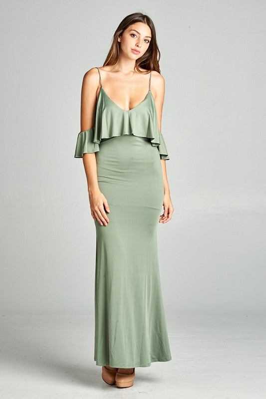 Esmeralda Off The Shoulder Maxi Dress - Olive
