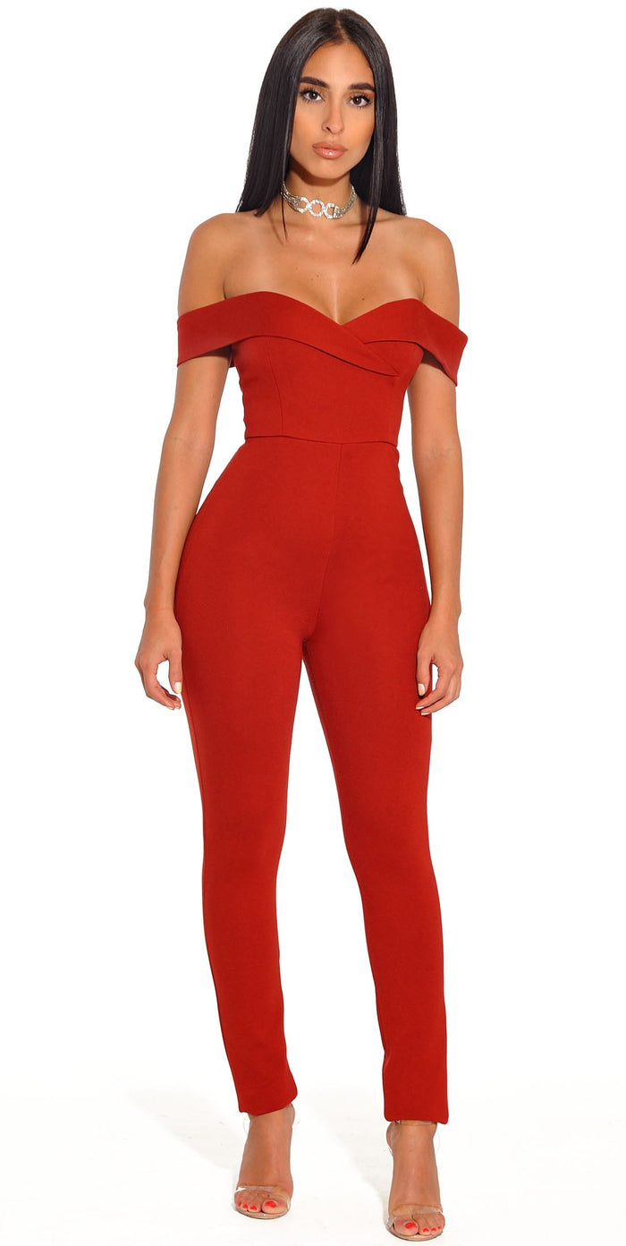 Giselle Crimson Red Off the Shoulder Stretch Crepe Jumpsuit - Red