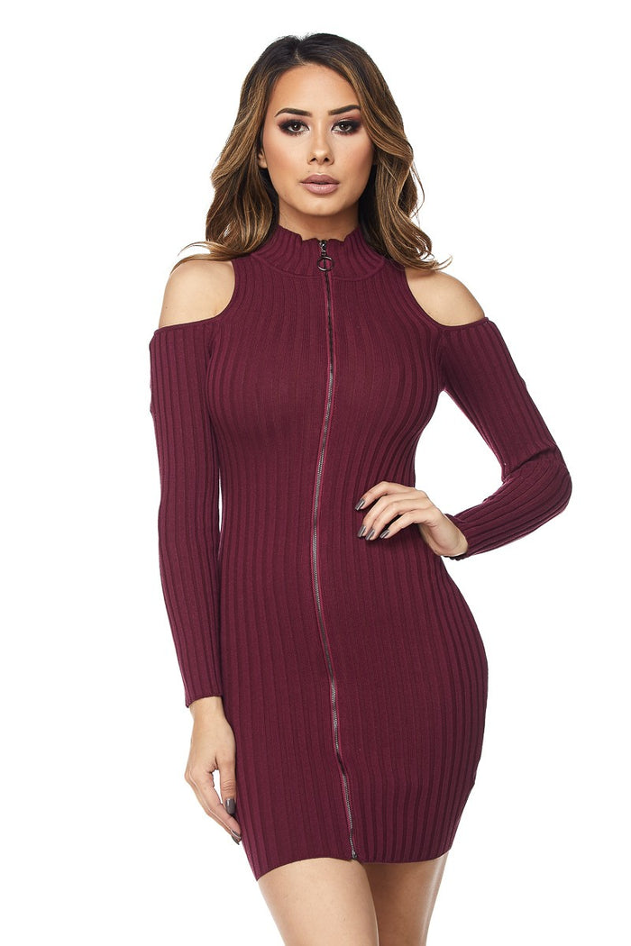 Sultry Shoulder Ripped Zipper Mini Dress