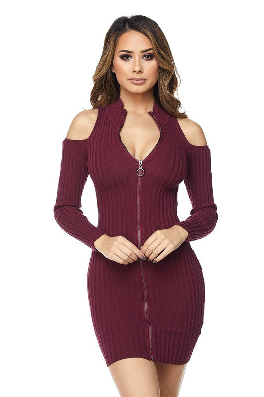 Sultry Shoulder Ripped Zipper Mini Dress - Burgundy