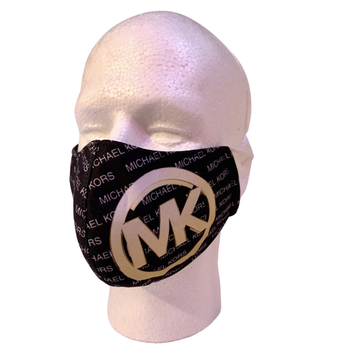 Designer Inspired Face Mask - MK Black / White / Gold
