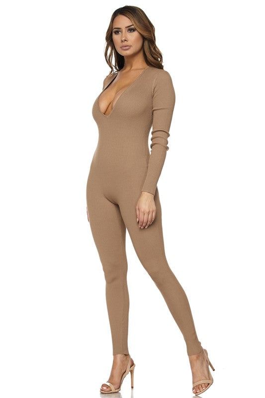 Kiki Deep V-Neck Long Sleeve Jumpsuit - Tan