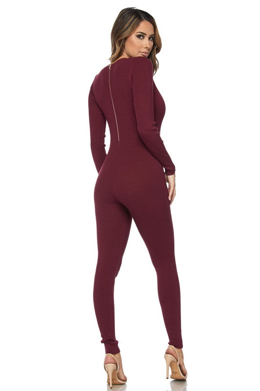 Kiki Deep V-Neck Long Sleeve Jumpsuit - Wine