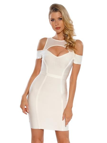 Megan Sheer Mesh Cut Out Shoulder Bandage Dress - White