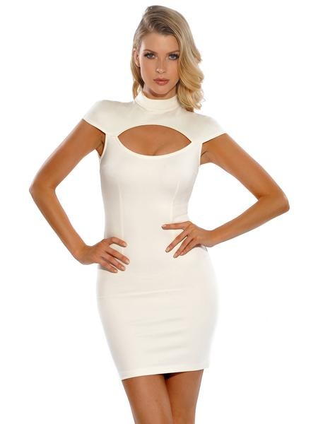 Stacey High Neck Low Sleeve Cut Out Stretch Crepe Dress - White