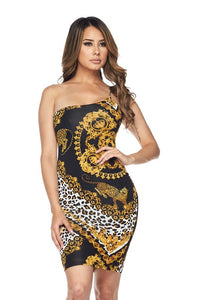 Feline Good One Shoulder Mini Dress - Black / Leopard