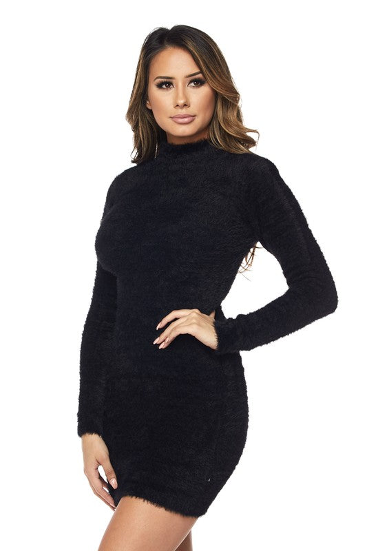 Electric Babe Mock Neck Sweater Dress - Black