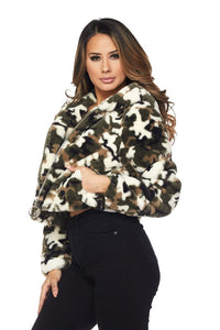 On Command Camo Faux Fur Hoodie Jacket