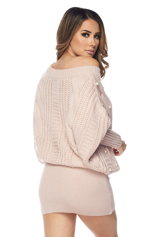 Cozy Pearl Cable Knit Sweater Dress