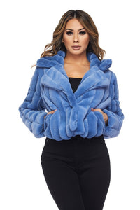 Stay Chic Soft Fleece Plush Jacket - Blue