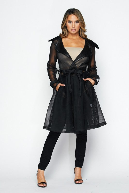 Watch Me Transparent Trench Jacket - Black