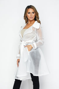 Watch Me Transparent Trench Jacket - White