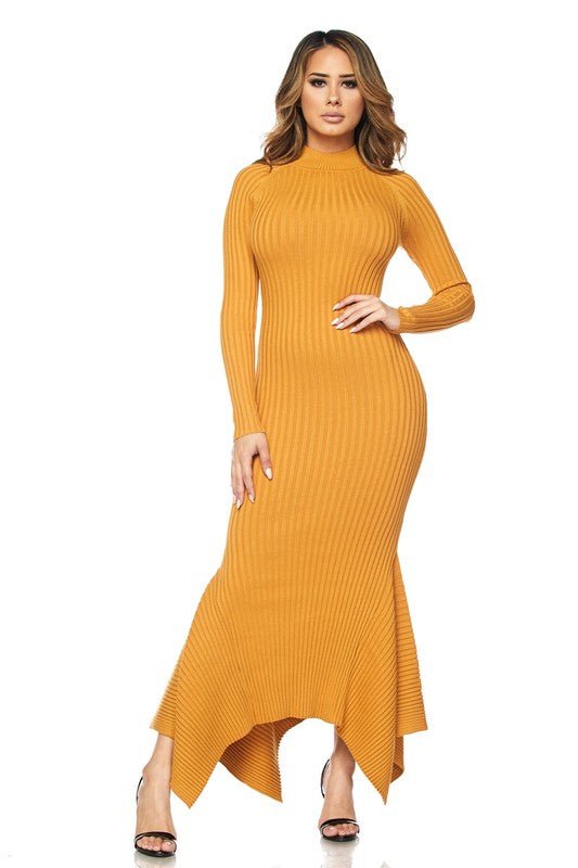 Molly Mock Neck Ribbed Mermaid Dress